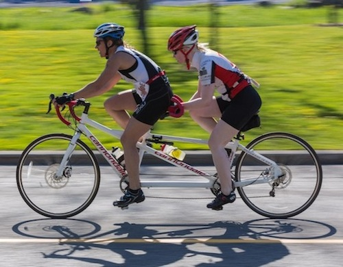 Dawn Lomer (guide) and Leona Emberson (paratriathlete) - tandem